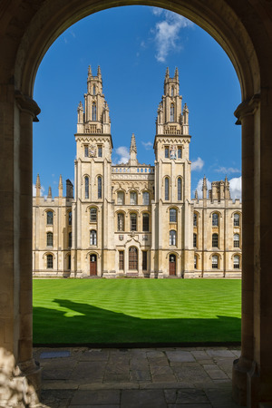 The All Souls College at the University of Oxford on a beautiful sumnmer day