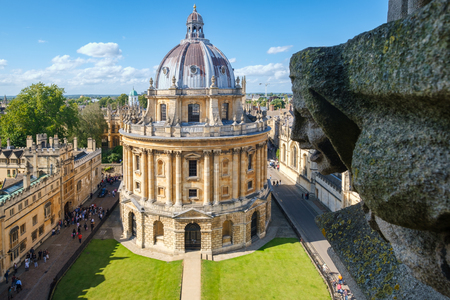 The Radcliffe Camera, a symbol of the University of Oxford and a gargoyle from the Church of St Mary the Virgin