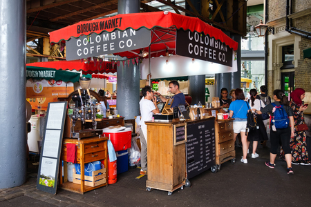 Stall seliing colombian coffee at the famous Borough Market in London