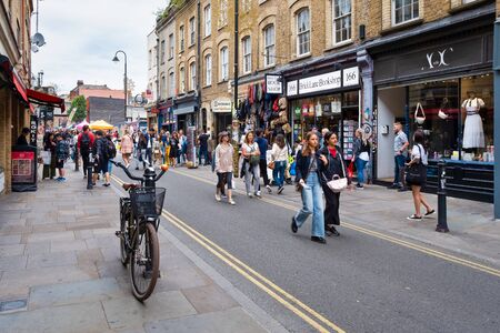LONDON,UK -JULY 28,2019 : The popular Brick Lane street market in East London