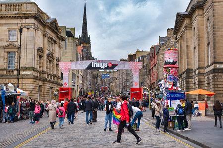 EDINBURGH,UK - AUGUST 13,2019 : The Royal Mile in Edinburgh decorated for The Fringe festival