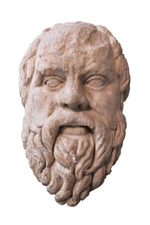 Ancient marble head of the greek philosopher Socrates - Isolated on white with clipping path