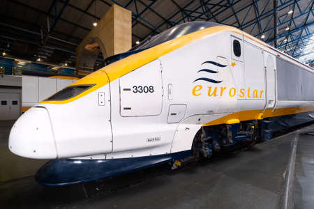 YORK,UK - AUGUST 12,2019 : Eurostar Class 373 trains at the National Railway Museum in York