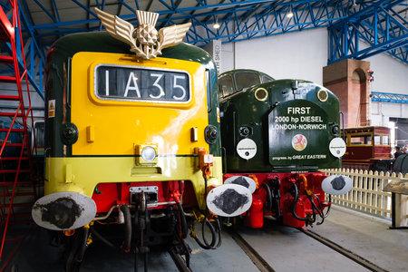 YORK,UK - AUGUST 12,2019 : Type 4 D200 diesel powered locomotives at the National Railway Museum in York