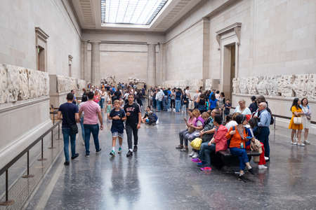 LONDON,UK - JULY 31,2019 : The Elgin Marbles exhibited at the British Museum and originally located at the temple of the Parthenon in Athens