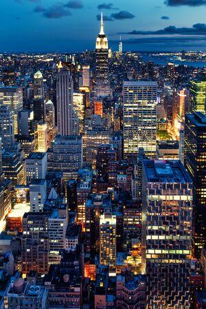 Aerial view of New York City illuminated at night