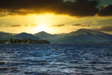 Loch Lomond in Scotland at sunset