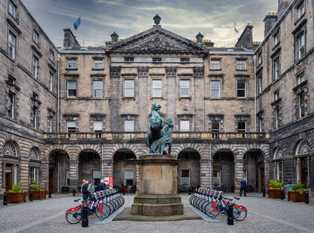 The City Chambers building at Edinburgh with the famous Alexander and Bucephalus statue Editorial
