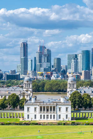 Greenwich Park, Canary Wharf and the Docklands in London - On a sunny summer day
