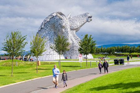 The Kelpies monument at The Helix park near Falkirk in Scotland - Famous scottish landmark Editorial