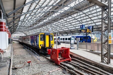 Trains at the platforms on Liverpool Lime Street railway station