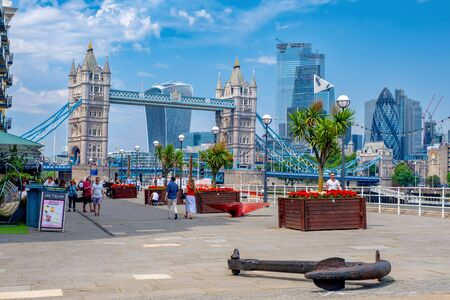 Summer in London with a view of the Tower Bridge and the City skyline