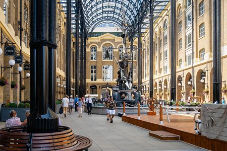 Hay's Galleria, an old wharf on the river Thames reconditioned as commercial landmark in central London