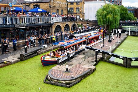 The historic Hampstead Road Locks on the Regent's Canal in Camden Town