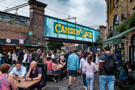 Outdoor seating restaurants at the Camden Town street market in London