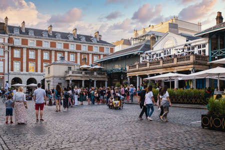 LONDON,UK - JULY 29,2019 :  The famous Covet Garden Market in London at sunset Editorial