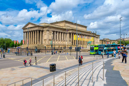 Urban view of Liverpool  including St George's Hall, a symbol of the city