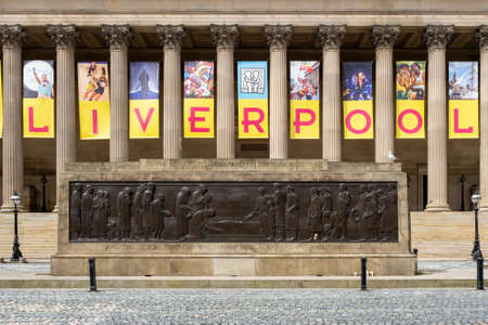 Detail of St George's Hall, a symbol of the city of Liverpool