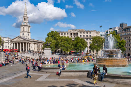 Trafalgar Square  in London on a beautiful summer day