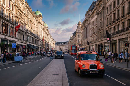 Regent Street in London at sunset, one of the world most prestigious shopping and lifestyle destinations Editöryel