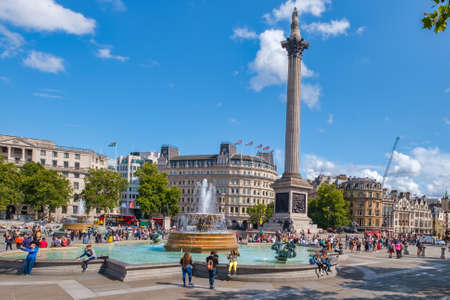 Trafalgar Square and the Nelson Column in London on a beautiful summer day
