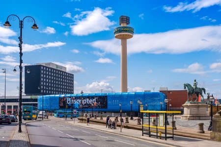 Urban scene at the Liverpool city center with a view of St Johns Beacon Editorial
