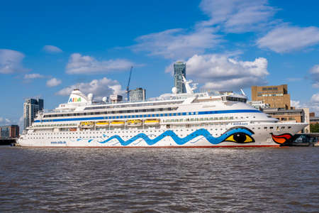 Ocean liner at the Liverpool Cruise Terminal on a beautiful summer day
