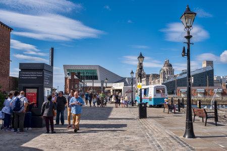 Summer scene at the historic Albert Dock in Liverpool Editorial