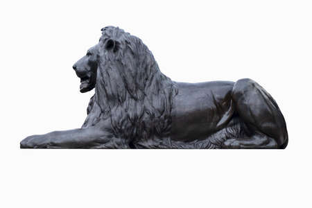 Bronze statue of a lion at Trafalgar Square in London - Isolated on a white background with clipping path Stok Fotoğraf