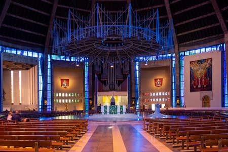 Interior of the Liverpool Metropolitan Cathedral, the largest catholic cathedral in England Editorial