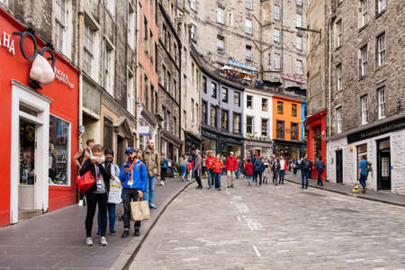 Victoria Street in Edinburgh, with its coloful buildings and independent shops this is one of the top attractions of the scottish capital