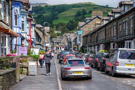 The colorful village of Ambleside on the picturesque Lake District in England