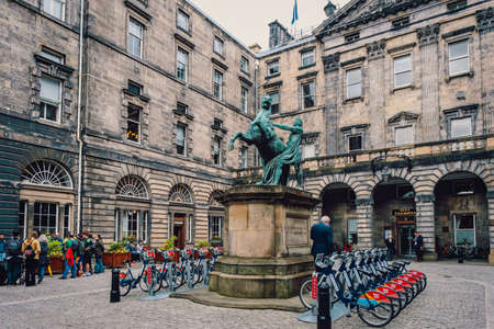 The historic Edinburgh City Chambers with the famous statue of Alexander and Bucephalus