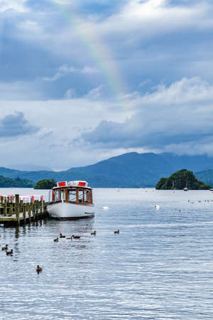 Rainbow over Lake Windermere on the beautiful Lake District in England