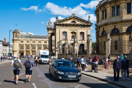 Urban scene next to the Sheldonian Theatre in the city of Oxford