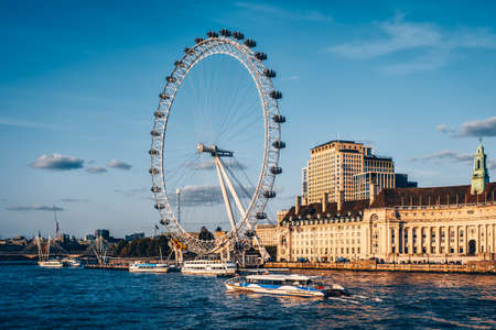 Iconic view of London with the river Thames , the Southbank and the London Eye - View from Westminster bridge Editorial