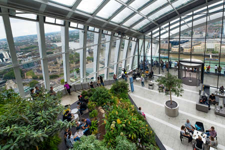 The Sky Garden viewing gallery on the 43rd floor of the Walkie Talkie skyscraper in London pffers panoramic views over the british capital Editöryel