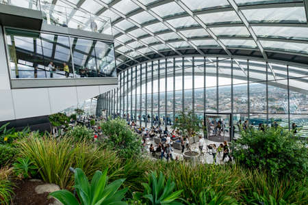 The Sky Garden viewing gallery on the 43rd floor of the Walkie Talkie skyscraper in London pffers panoramic views over the british capital Editorial