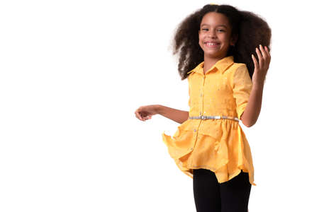 Multiracial small girl with beautiful curly hair laughing - Isolated on white