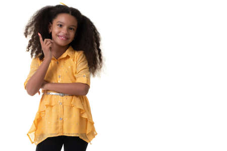 Cute multiracial small girl with a beautiful curly hair - Isolated on a white background Standard-Bild