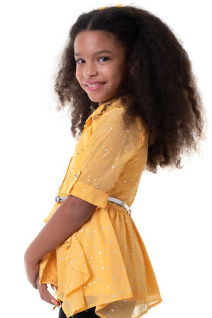 Portrait of a trendy multiracial small girl with beautiful curly hair - Isolated on white