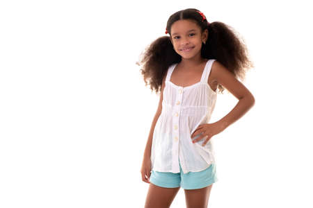 Cute multiracial small girl wearing casual summer clothes - Isolated on a white nackground