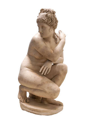 Ancient greek statue of a nude woman or goddess - Isolated on a white background with clipping path