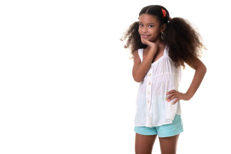 Cute and funny multiracial girl - Isolated on a white background