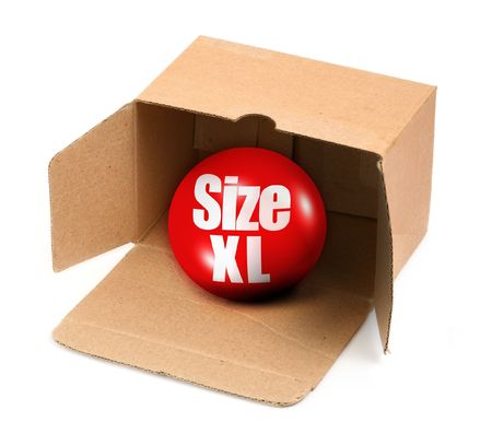 box size: XL size concept - open cardboard box and 3D sale ball, photo does not infringe any copyright