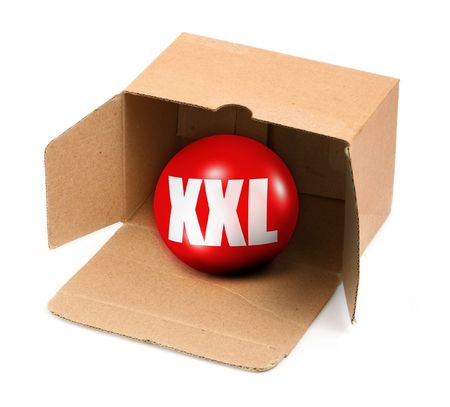box size: XXL size concept - open cardboard box and 3D sale ball, photo does not infringe any copyright