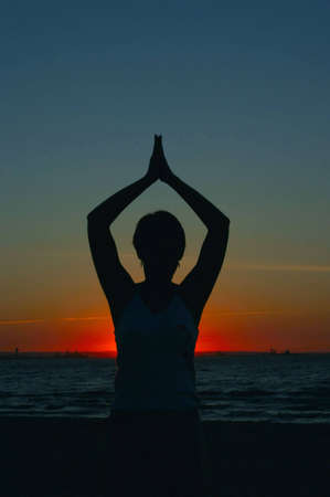 murk: evening yoga Stock Photo