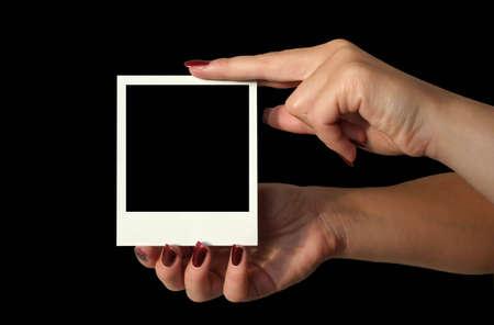 holding blank - deep black background #2 photo