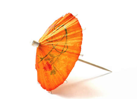 orange cocktail umbrella Stock Photo