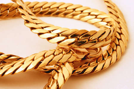 affluence: gold chain details #2 Stock Photo